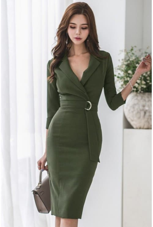 Malaysian Clothing Online: LeBelle18 Collared V Neck Elbow Sleeve Pencil Dress