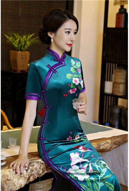 Malaysian Clothing Online: LeBelle18 Purple Floral Maxi Cheongsam